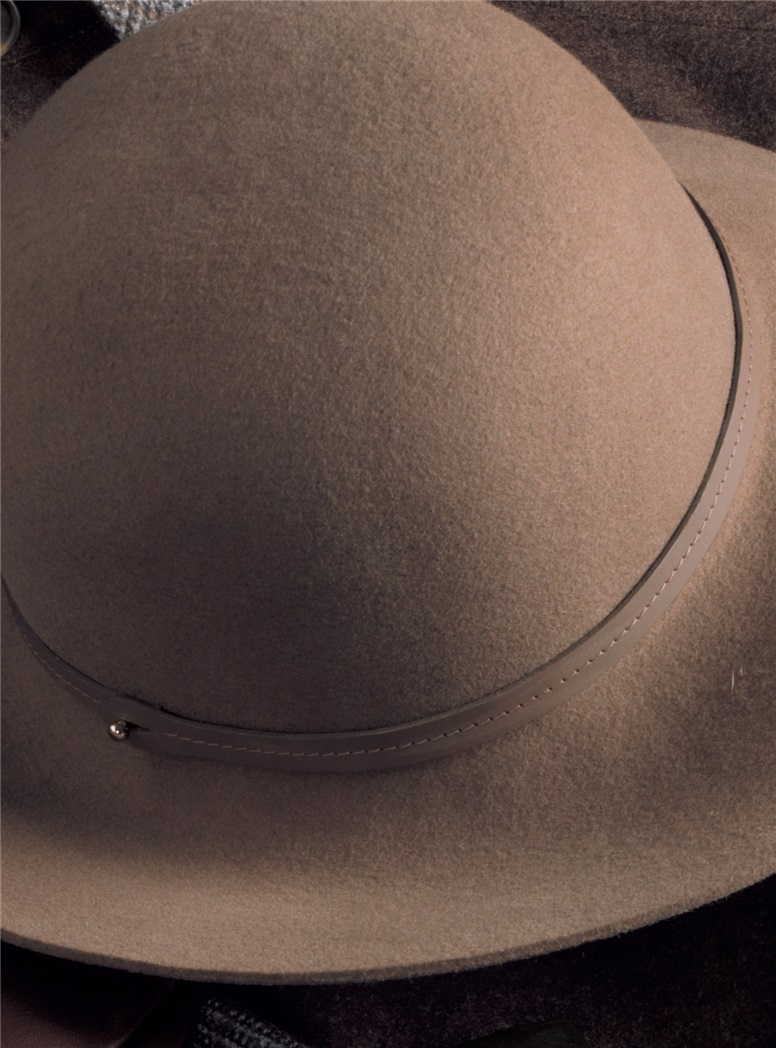 Ladies Felt Wide Brimmed Hat in Stone