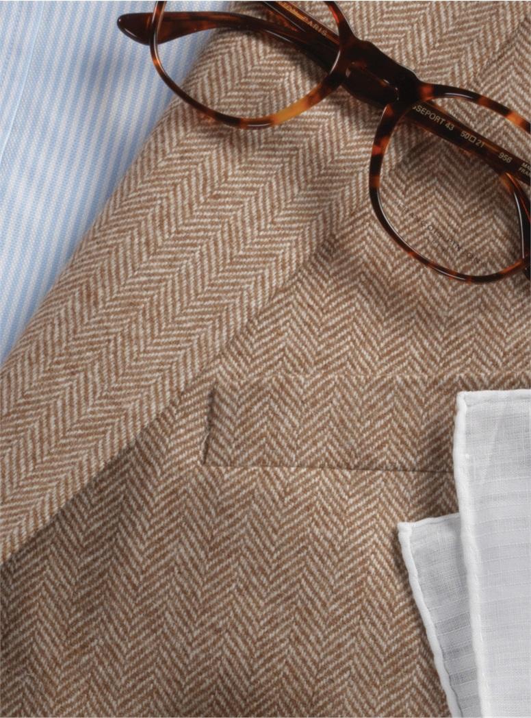 Cream and Brown Herringbone Sport Coat