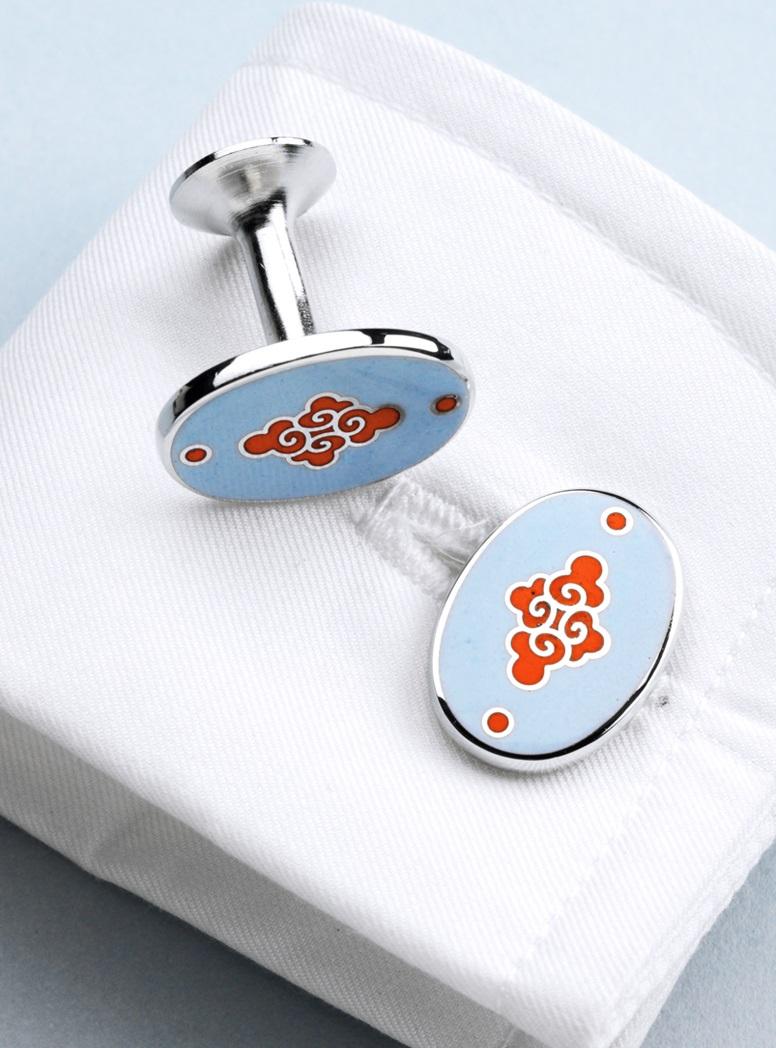 Pale Blue & Orange Oriental Cufflinks