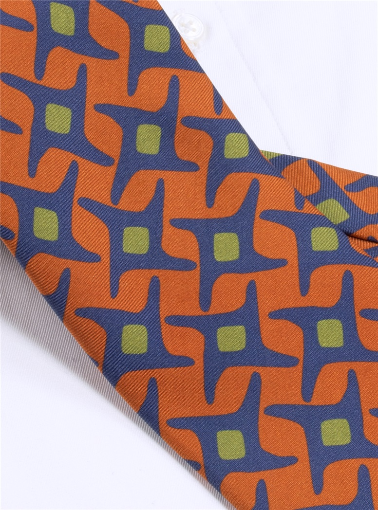 Silk Printed Starburst Tie in Orange