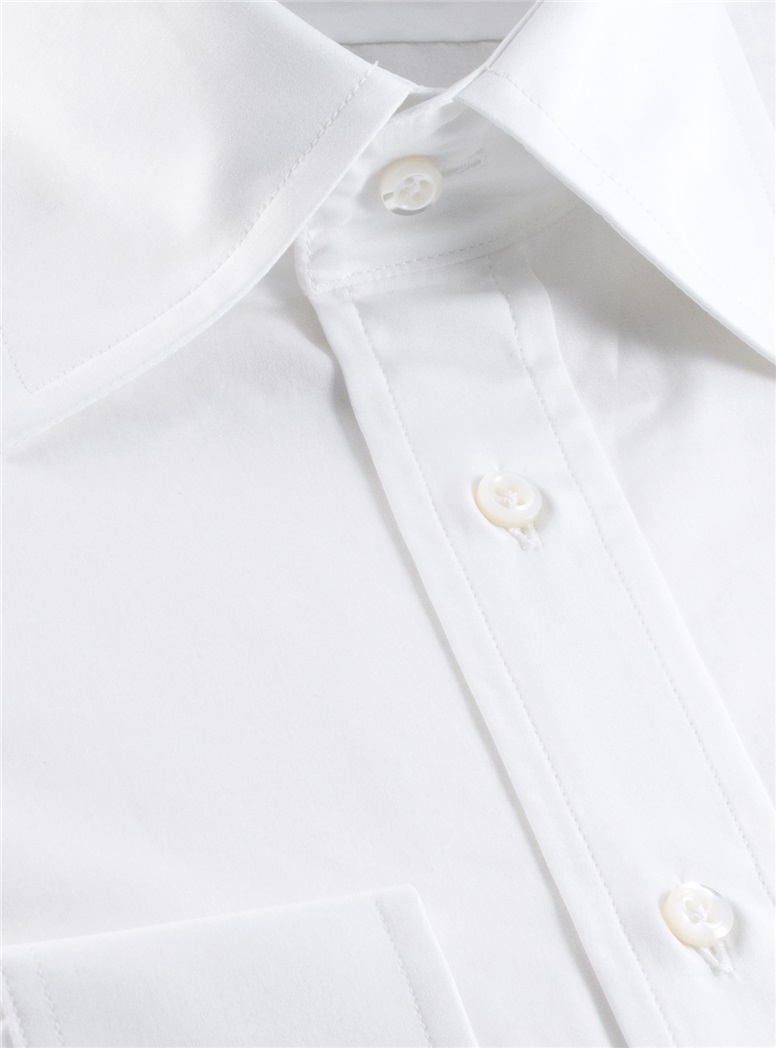 White Broadcloth Kelly Collar Dress Shirt