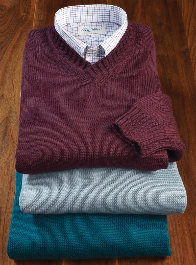 Alpaca and Silk V-neck Sweaters