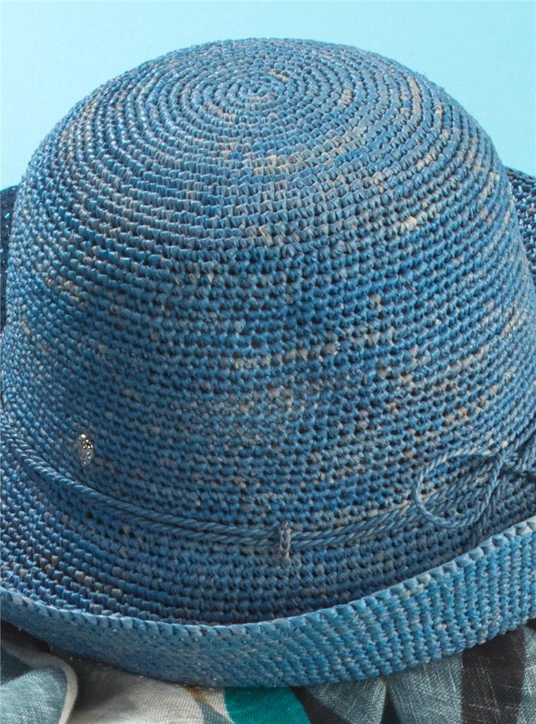 Crocheted Raffia Hat in Cornflower