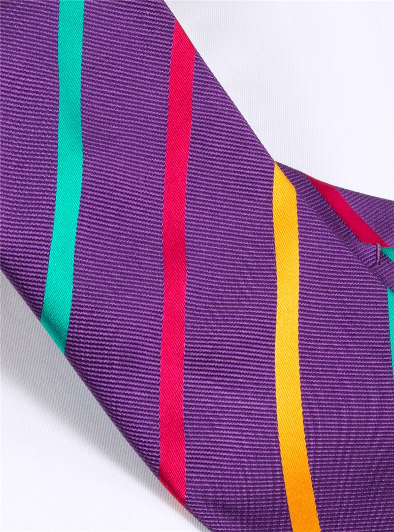 Silk Bar Striped Tie in Violet