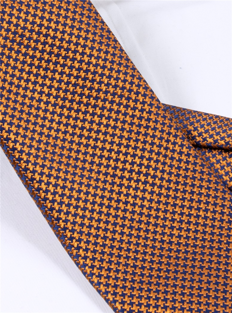 Silk Basketweave Tie in Amber and Violet