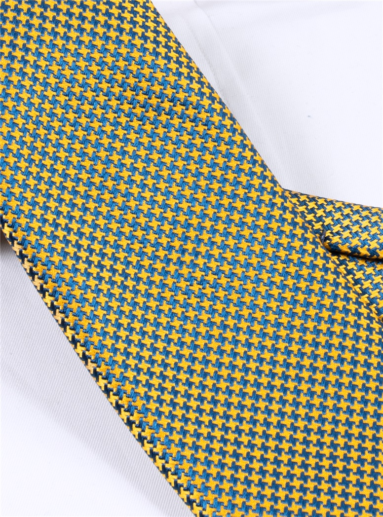 Silk Basketweave Tie in Gold and Teal