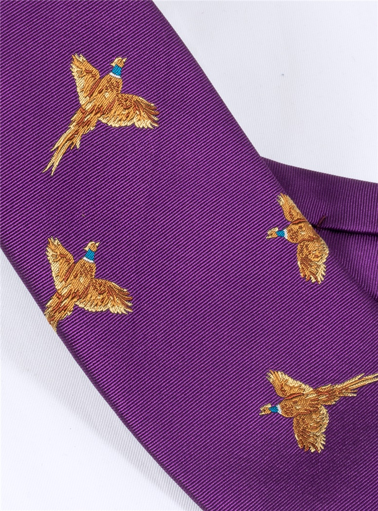 Silk Woven Pheasant Tie in Violet