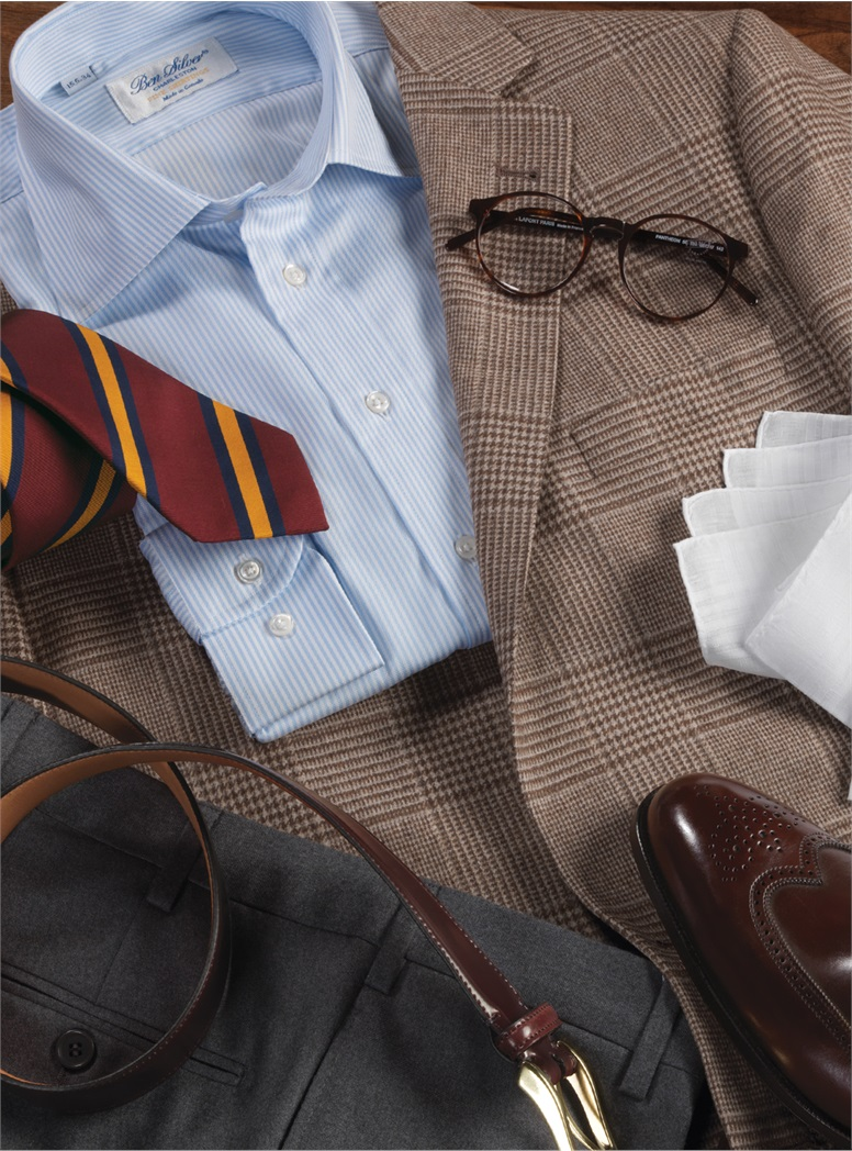 Tan and Chocolate Prince of Wales Plaid Sport Coat