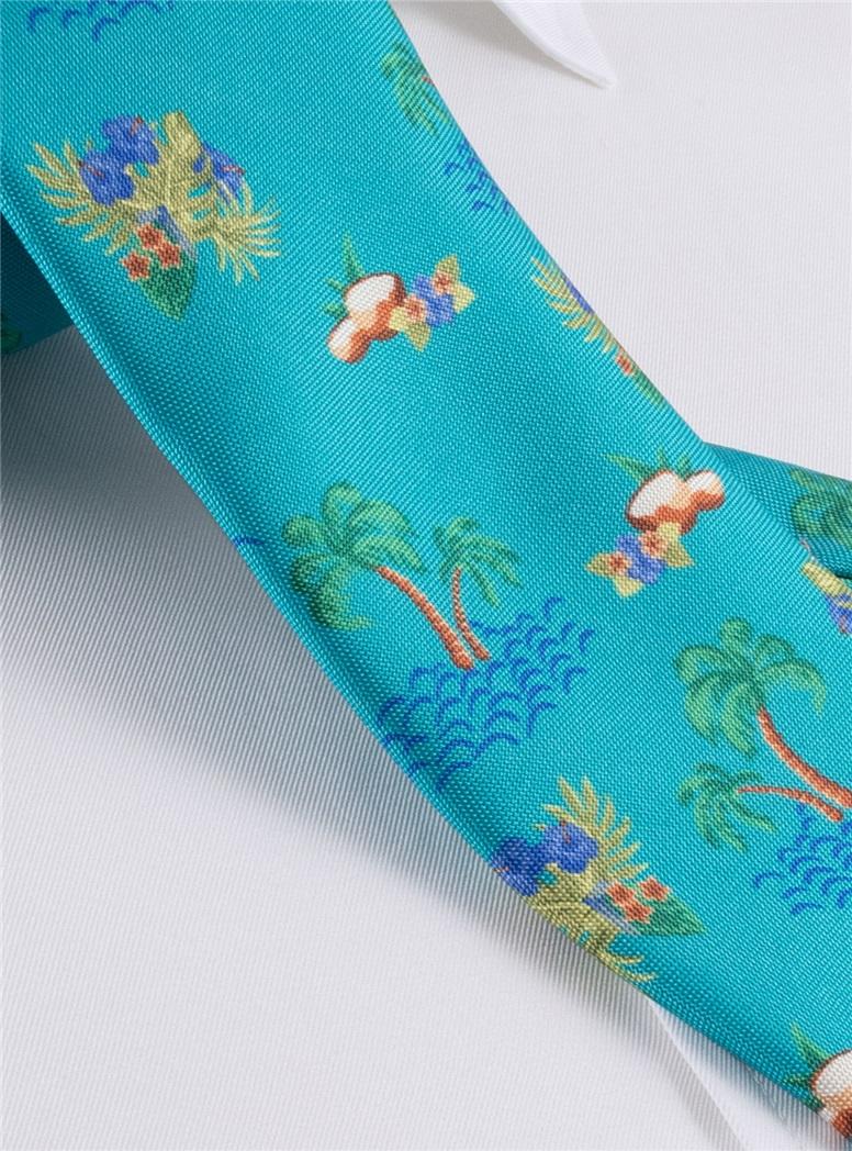 Silk Print Luau Tie in Teal