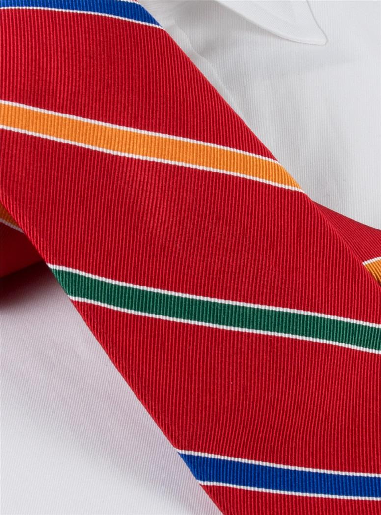 Silk Multi-Stripe Tie in Red
