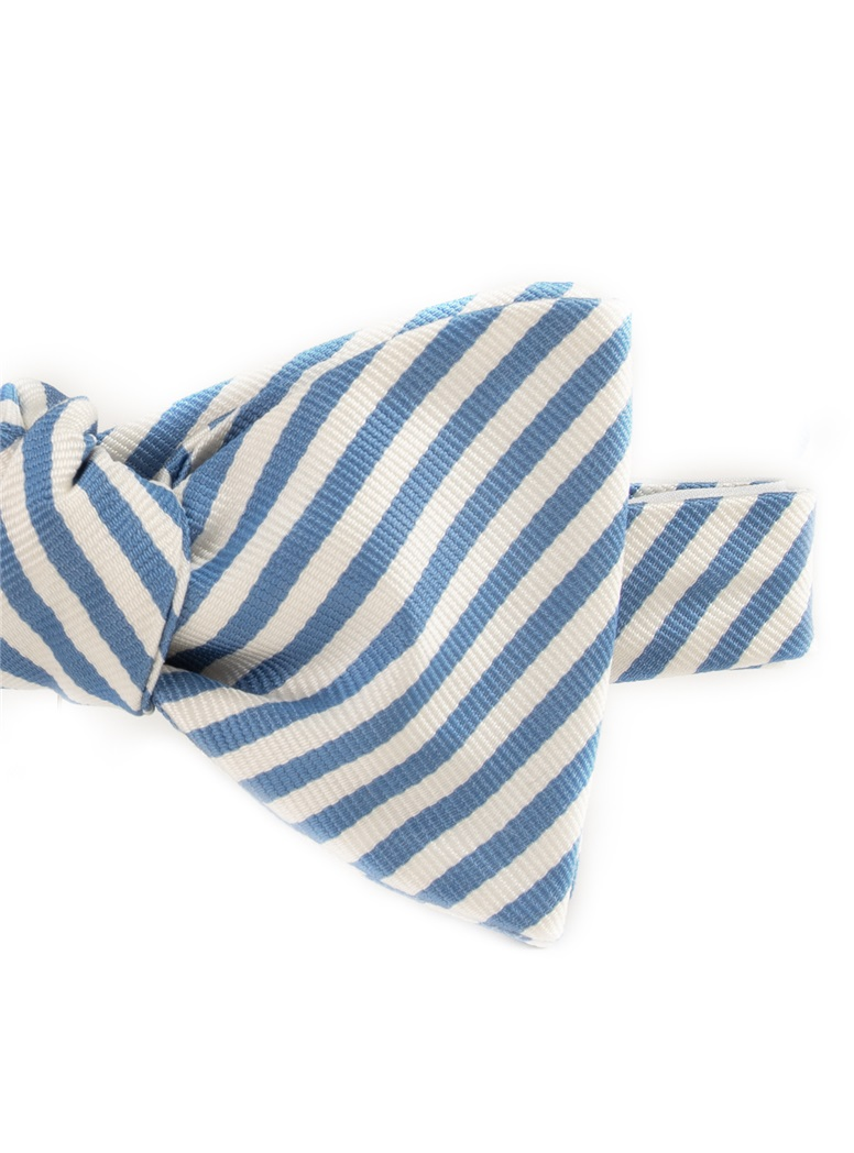 Silk Striped Bow Tie in White and Sky