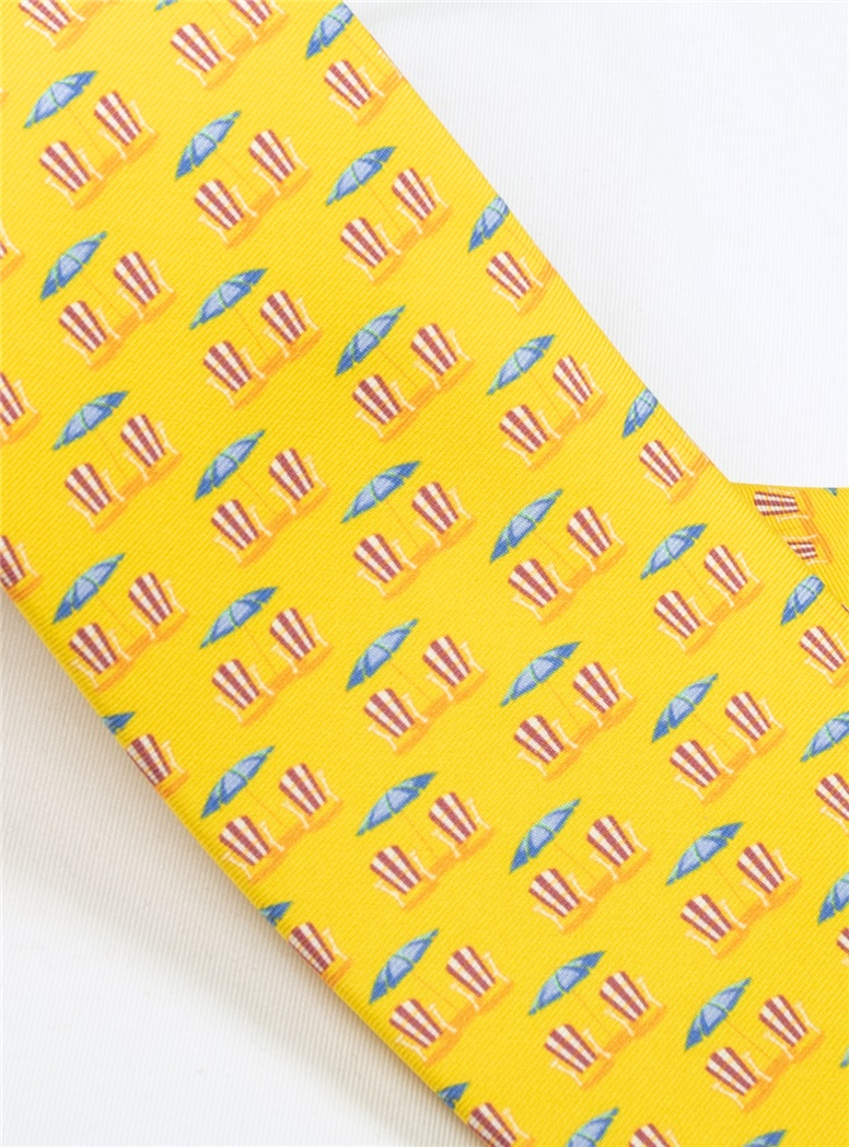 Beach Chair and Umbrella Printed Tie in Marigold