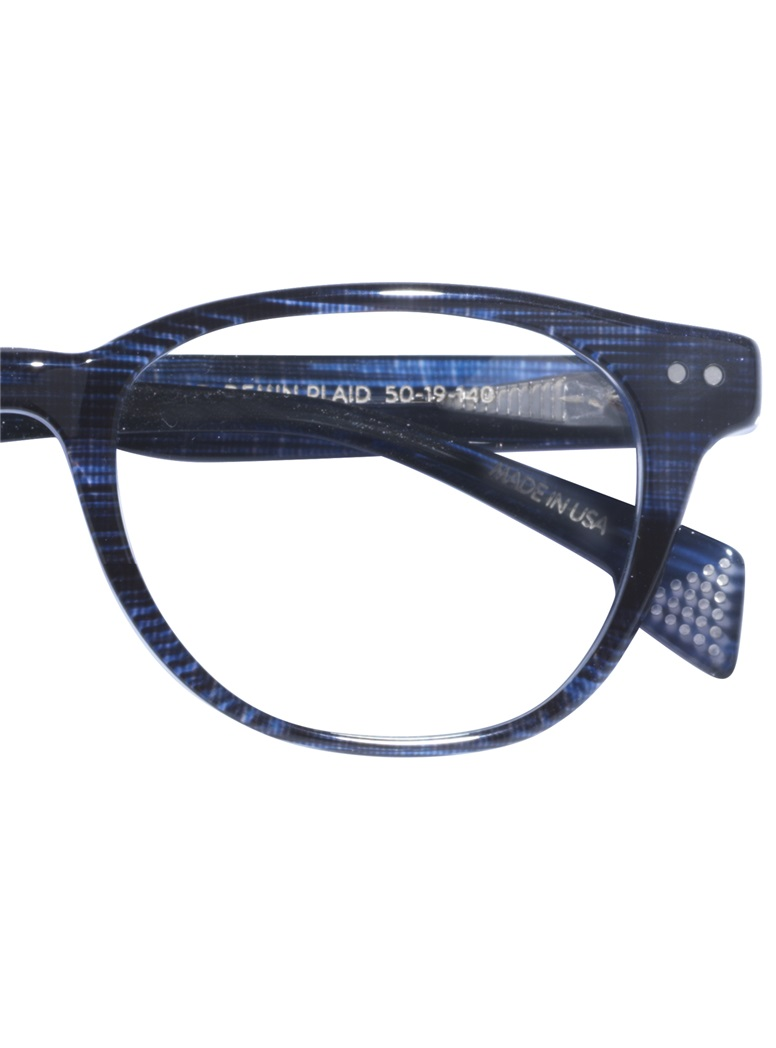 Taylor Rounded Brow Semi-Square Frame in Denim Plaid