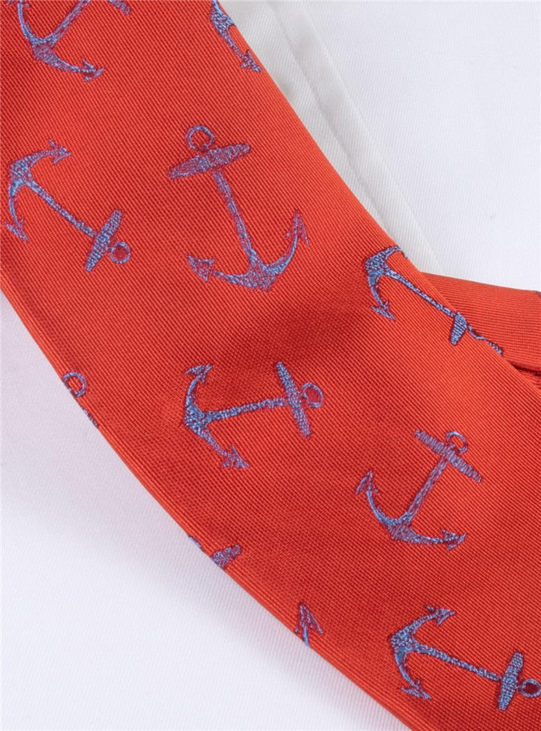 Silk Woven Anchor Tie in Tangerine