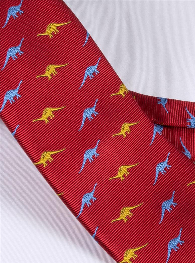 Silk Jacquard Dinosaur Tie in Red