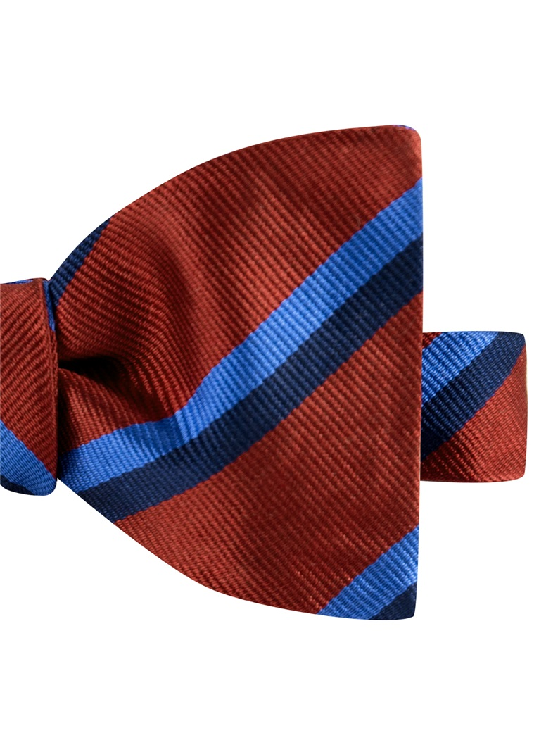 Silk Multi-Color Double Stripe Bow Tie in Ruby