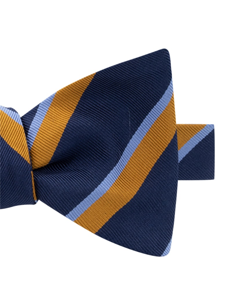 Mogador Silk Double Stripe Bow Tie in Navy