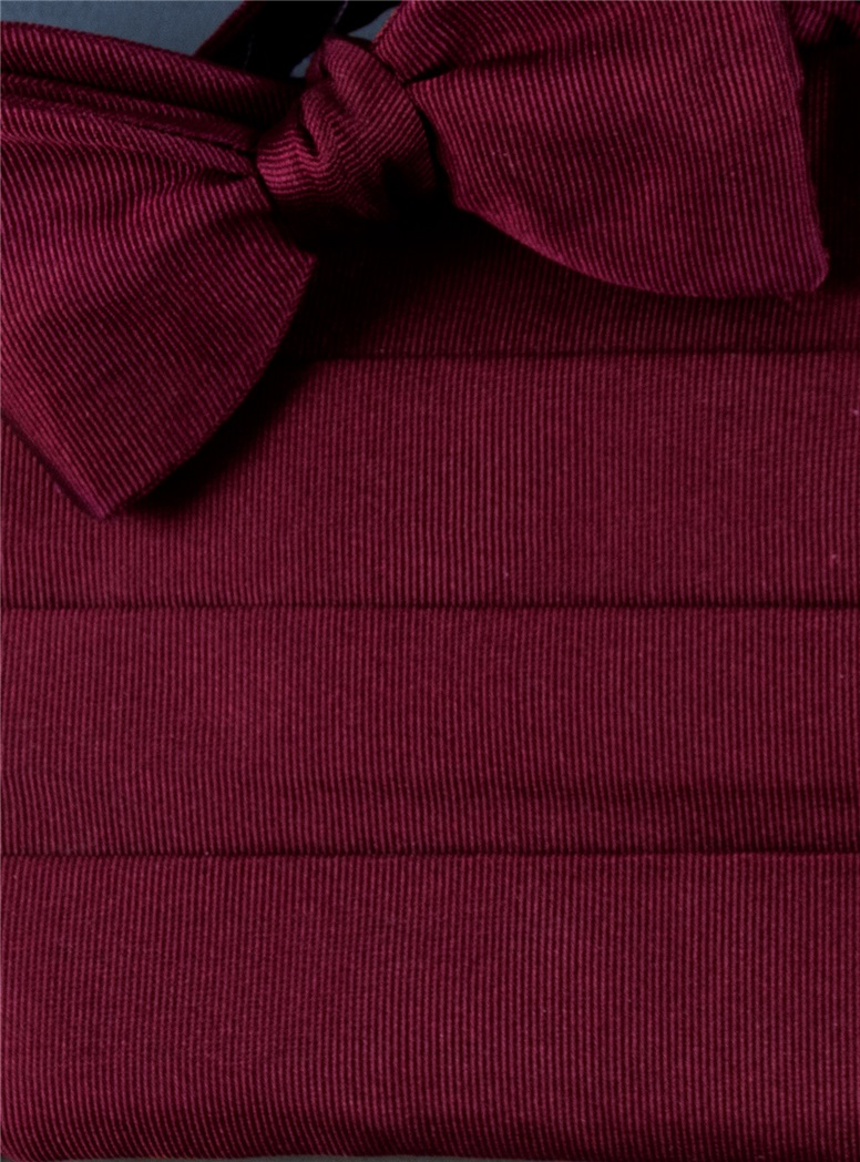 Claret Faille Cummerbund/Bow Set