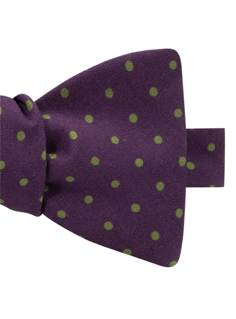 Wool Printed Dots Bow Tie in Plum with Lime