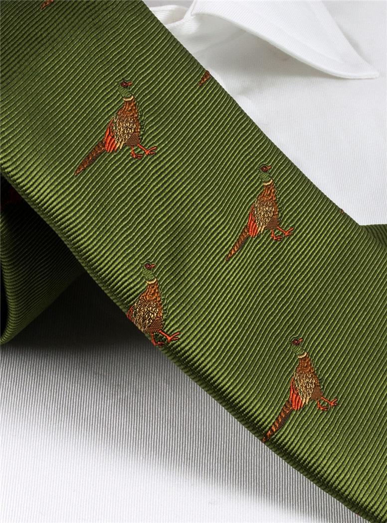 Silk Woven Pheasant Motif Tie in Fern