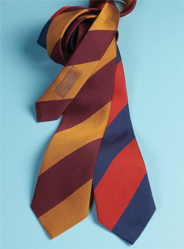 Silk Block Stripe Tie in Garnet