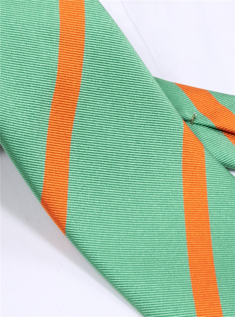 Silk Bar Striped Tie in Sea Green with Tangerine
