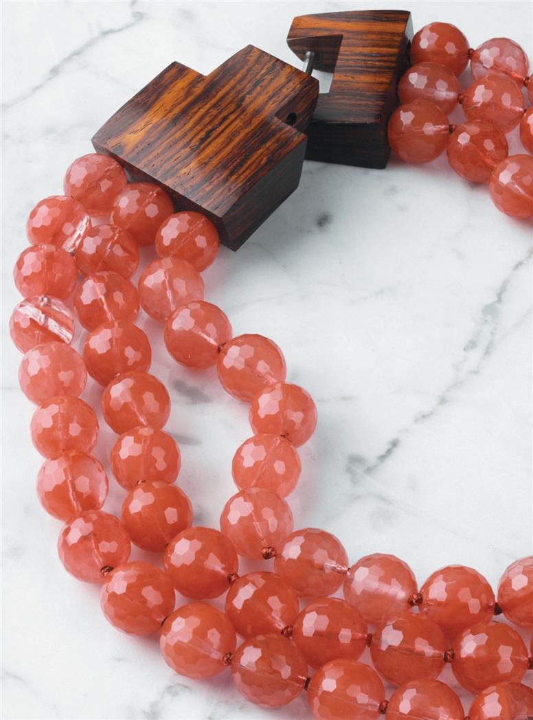 Three Strand Cherry Quartz Necklace