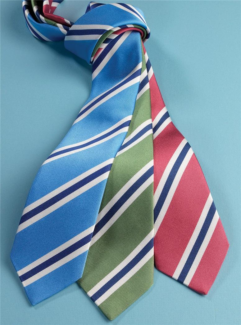 Silk Striped Tie in Azalea