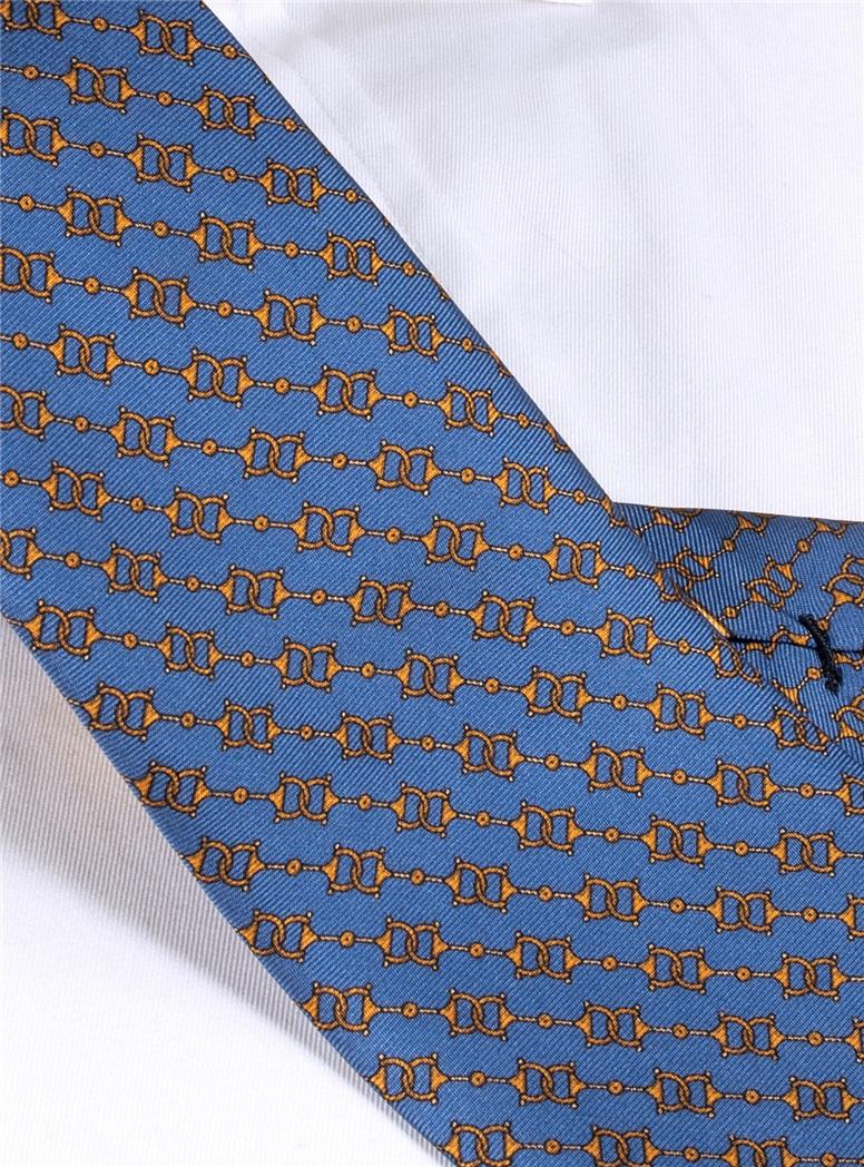 Silk Horse Bit Motif Tie in Cornflower