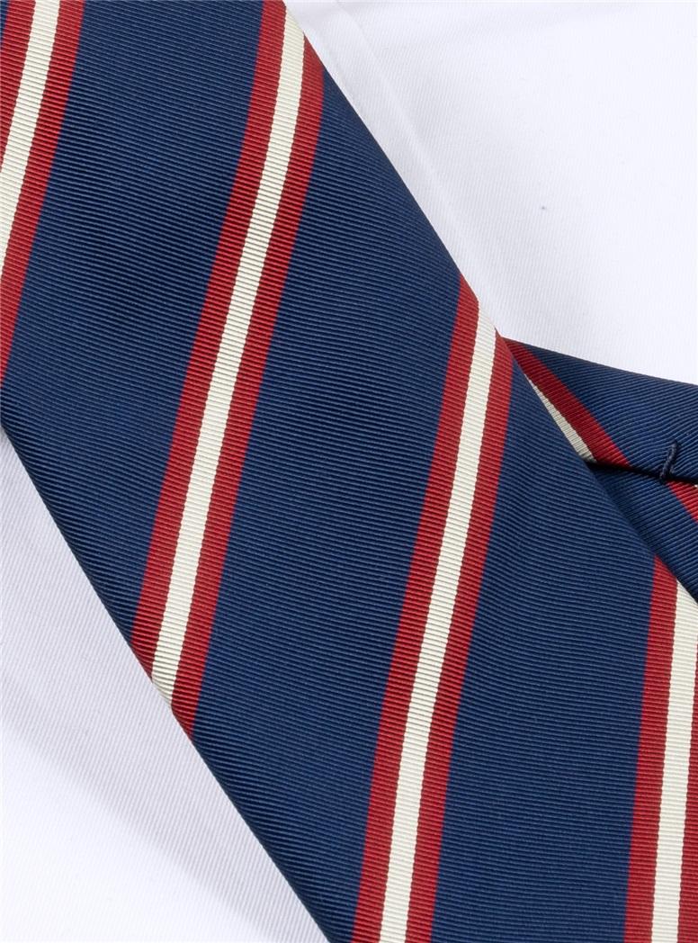 Silk Striped Tie in Navy