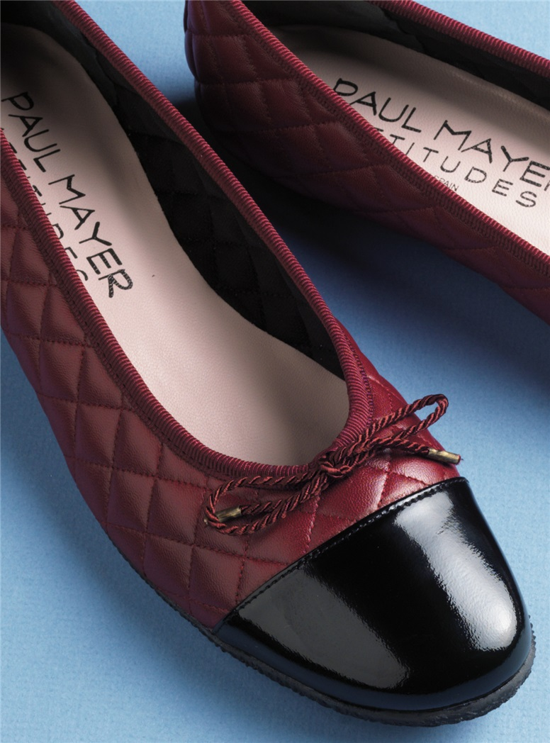 Quilted Flats in Wine with Black Patent Toe