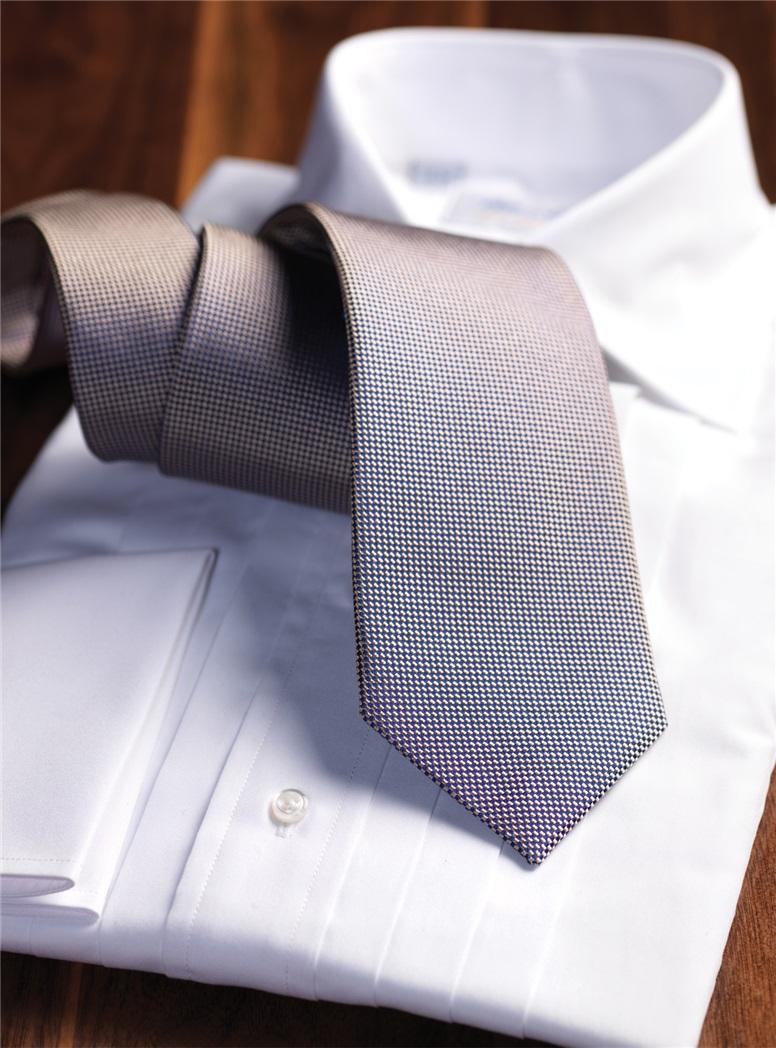 Silk Basketweave Tie in Pewter