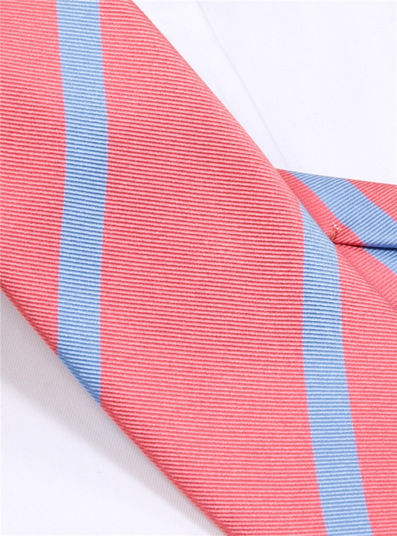 Silk Bar Striped Tie in Pink with Sky