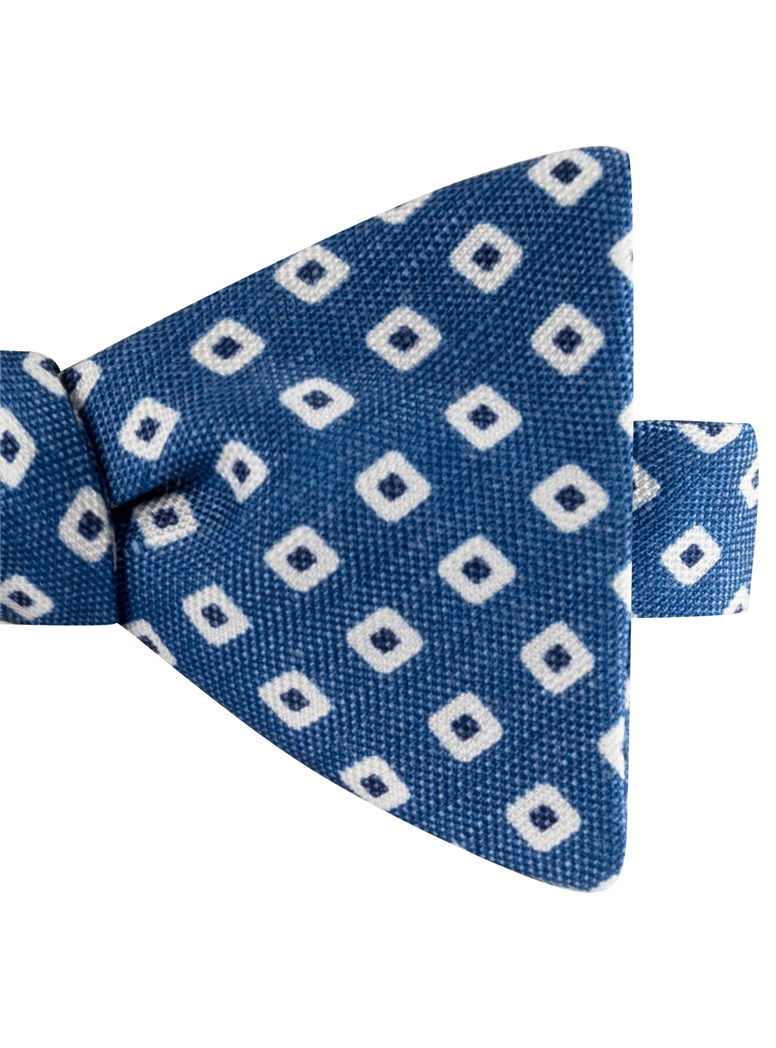 Silk and Linen Square Motif Printed Bow Tie in Denim