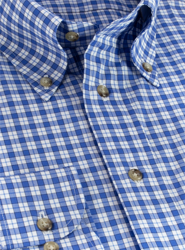 Blue and White Check Buttondown