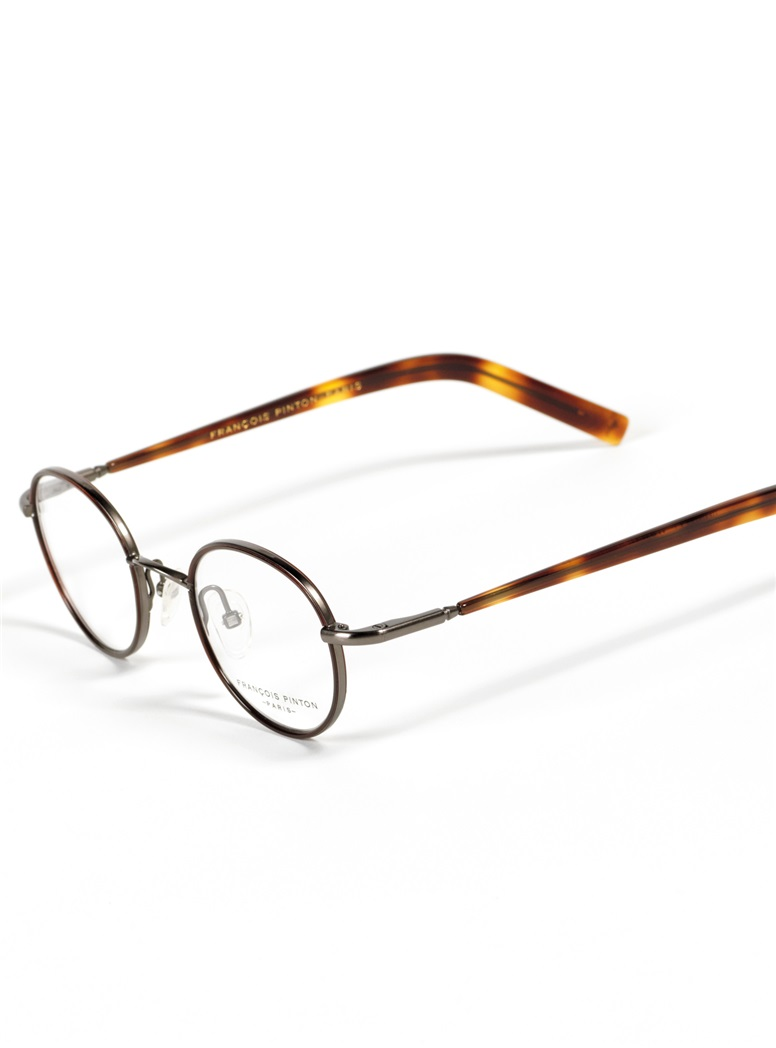 Nearly Round Wire Frames in Pewter with Chocolate Color Temples