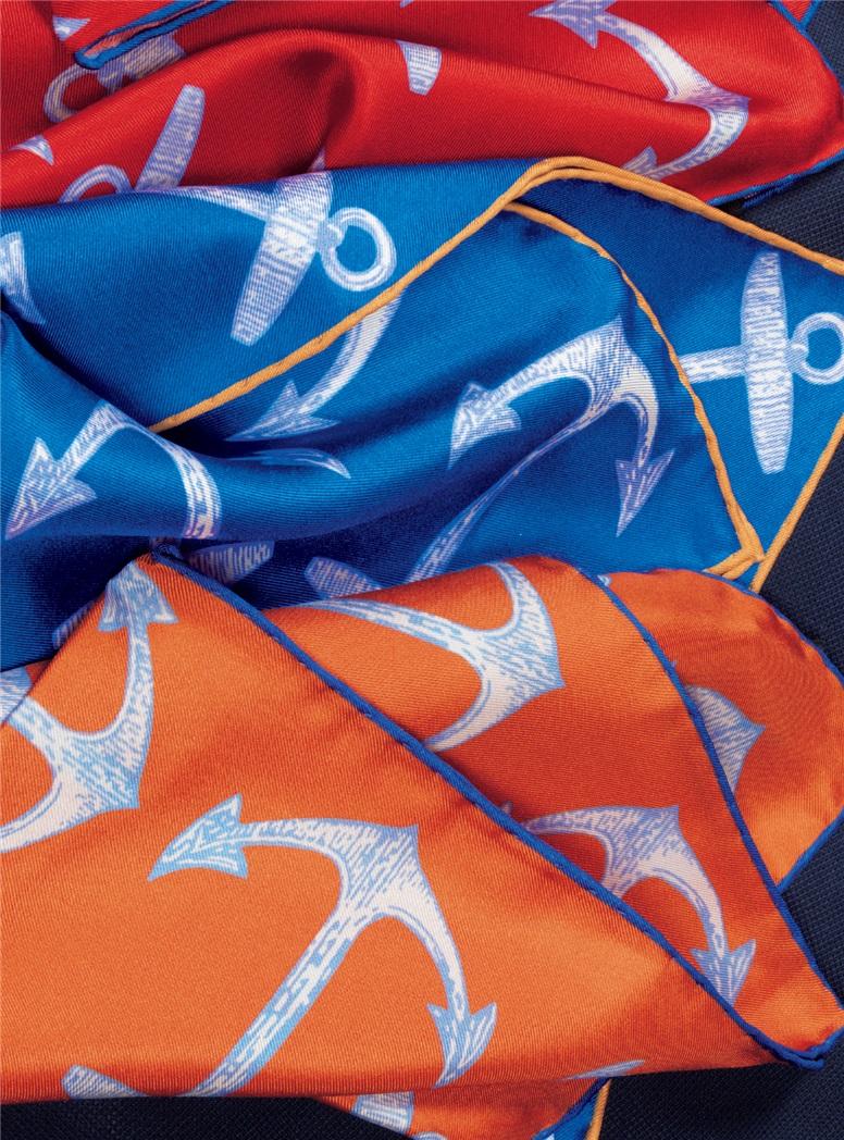 Silk Anchor Motif Pocket Squares