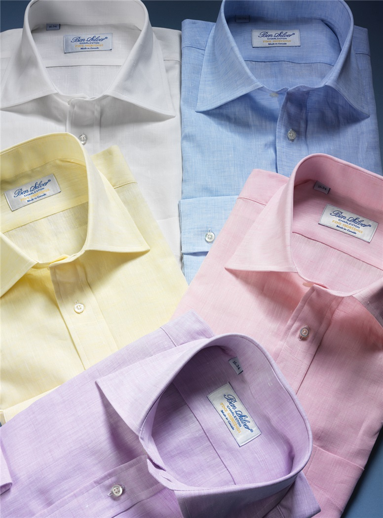 Pink Linen Spread Collar