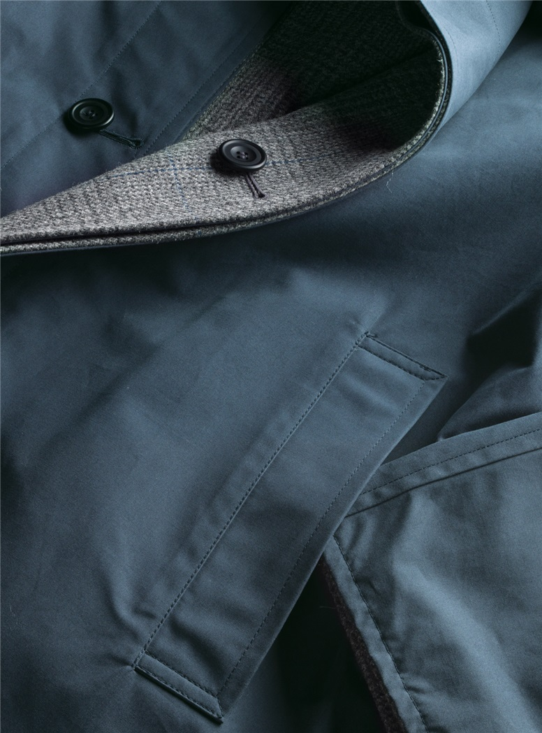 Reversible Glen Plaid Overcoat and Navy Raincoat