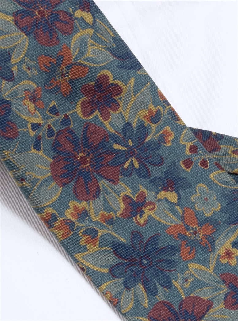 Wool Paisley Floral Printed Tie in Mint