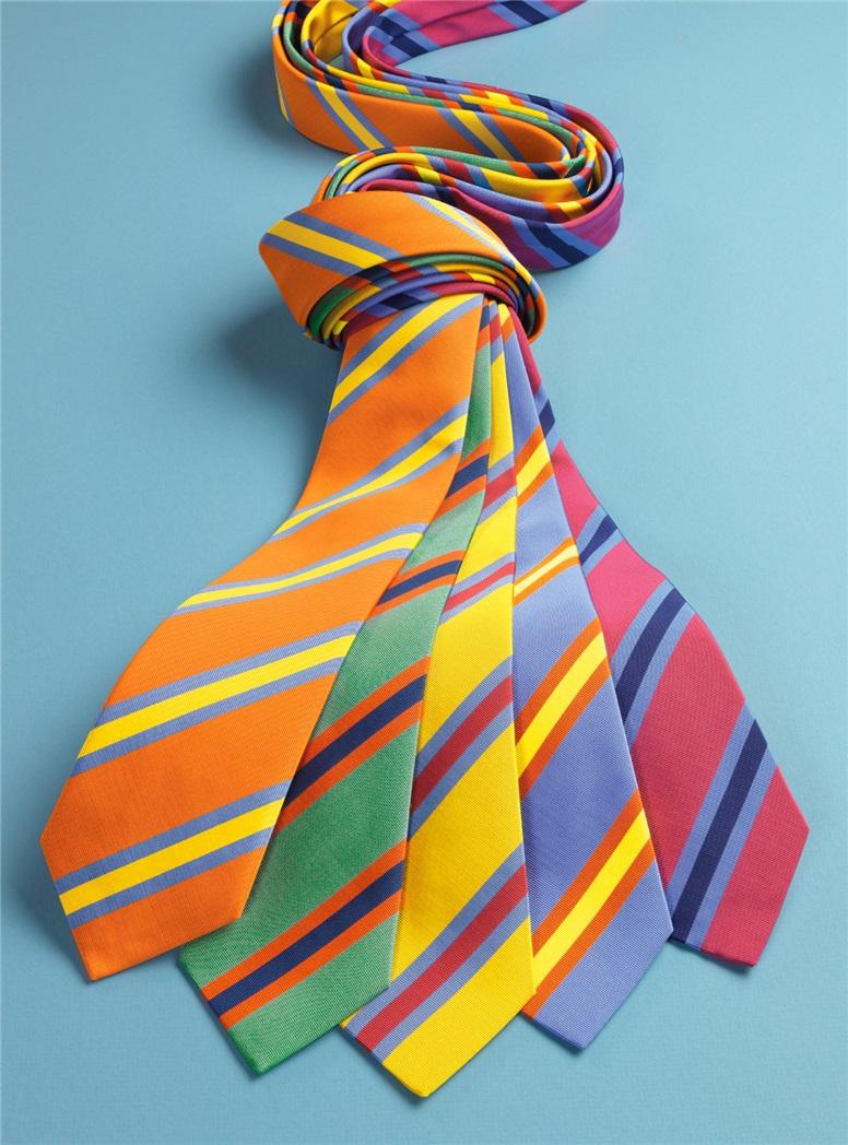Silk Stripe Tie in Azalea