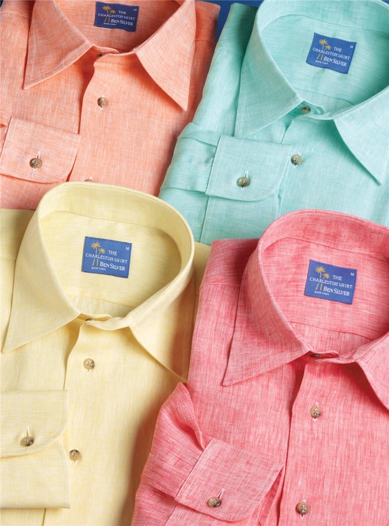 Red Charleston Linen Shirt