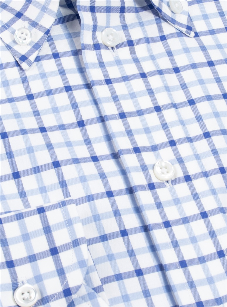 Navy and Sky Grid Twill Buttondown