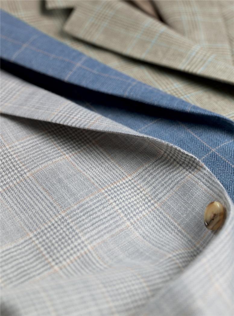 Silver and Cream Glen Plaid Sport Coat