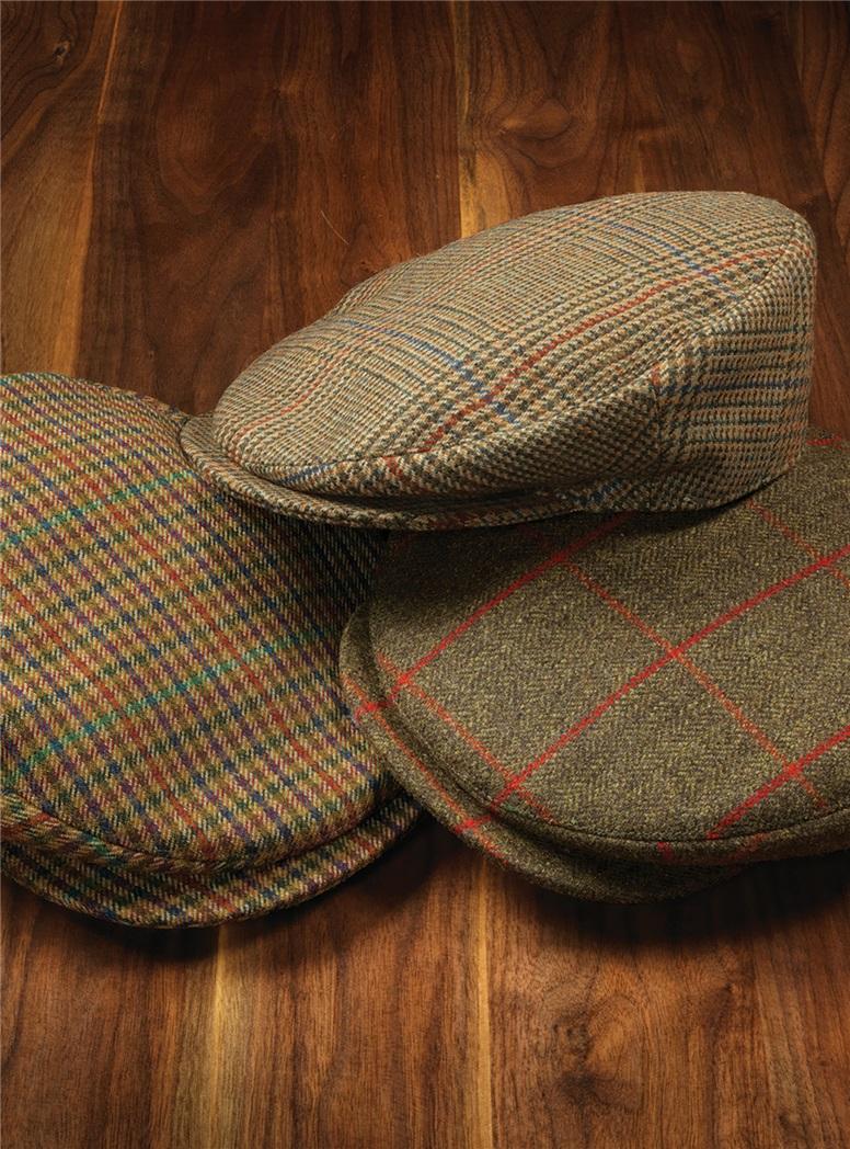 Wool Herringbone Helmsley Cap with Windowpanes