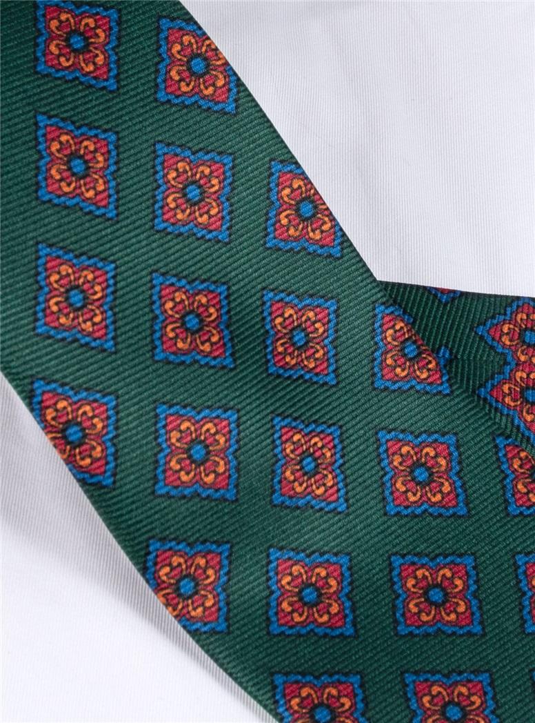 Silk Diamond Motif Tie in Forest