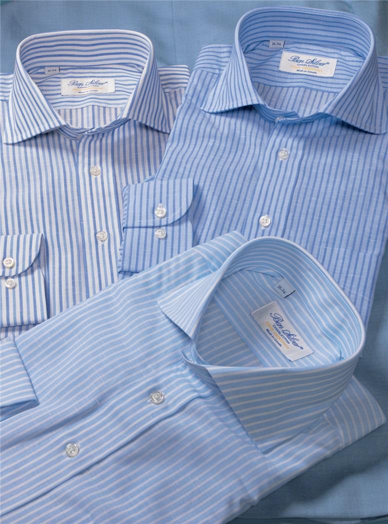Blue on Blue Bengal Stripe Cutaway in Linen & Cotton