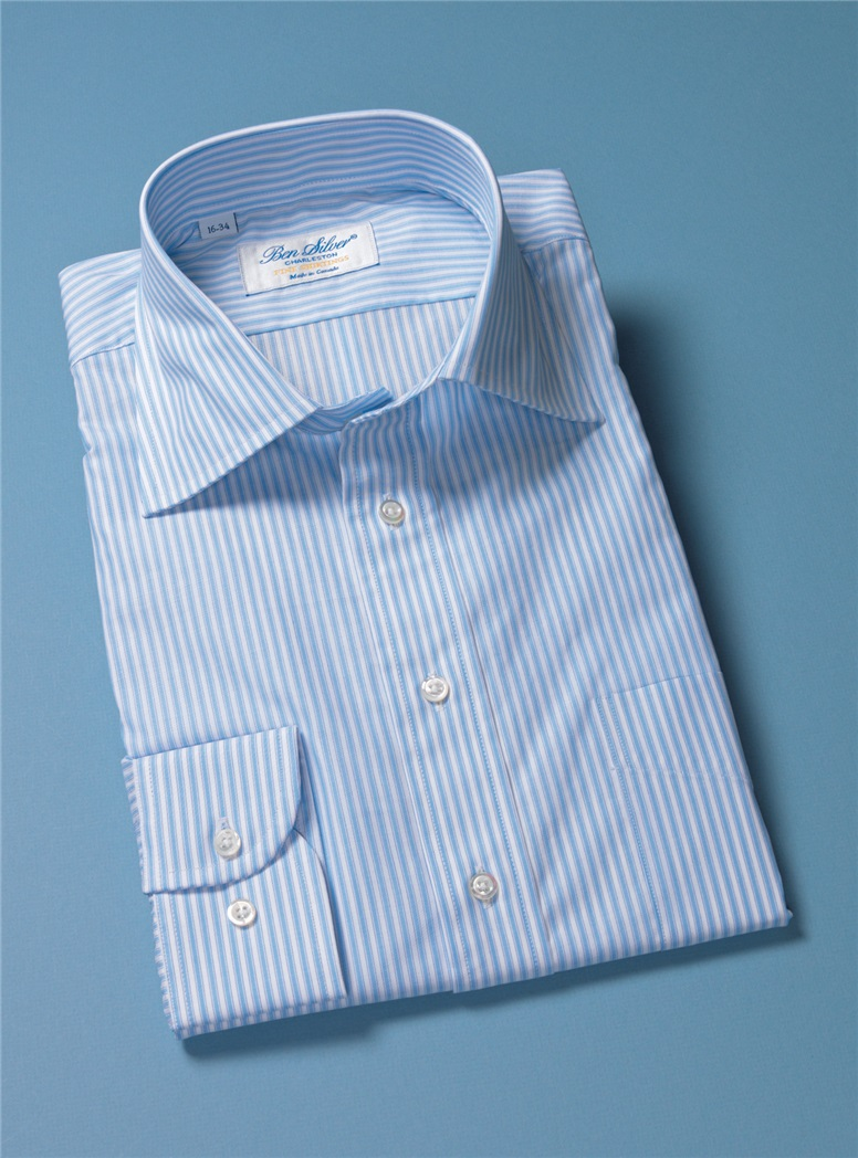 White and Sky Blue with Navy Bengal Stripe Spread Collar