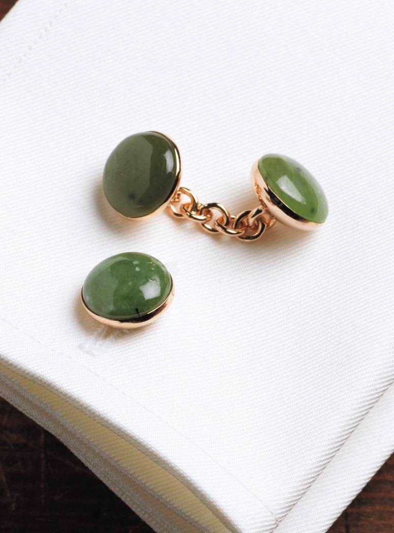 Rose Gold Jade Cufflinks