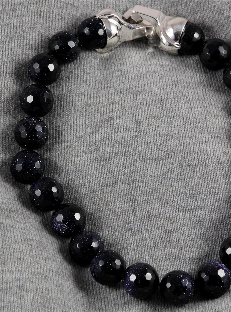 Faceted Navy Blue Gold Stone Necklace
